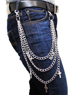 Triple Rhodium Rock & Cross Design Chain With Double Hooks(Z)
