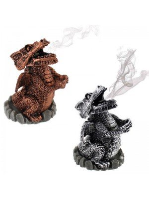 Dragons Incense Cone Holder  Silver & Red