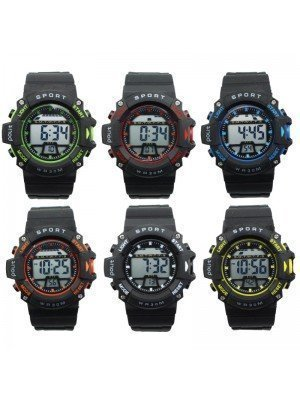 Polit Mens Digital Silicone Strap Sport Watch - Assorted Colours