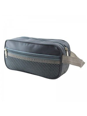 Grey Pencil Case With 3 Zipper Compartments