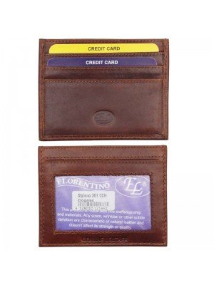 Wholesale Men's Leather Card Wallet - Cognac