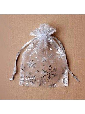 Wholesale Organza Gift Bag - Silver Snowflake Print (21x15cm)