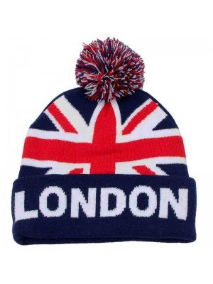 Union Jack Winter Hat with Pom Pom and Warm Lining