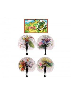 Wholesale Folding Paper Fans with Plastic Handles (14cm) - Assorted