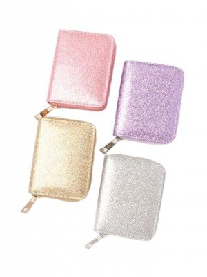 Ladies Glitter Fabric Zip Round Purse - Assorted Colours