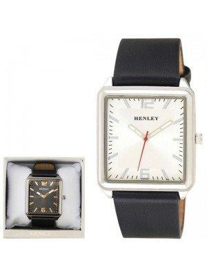 Wholesale Mens Henley Minimal Rectangular Leather Strap Fashion Watch - Black/White