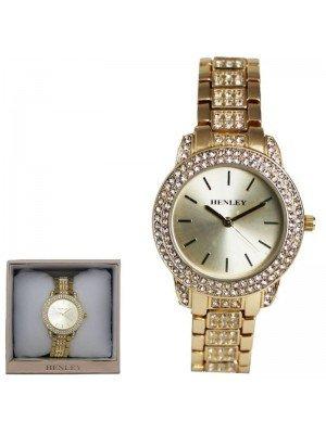 Wholesale Henley Ladies Bling Diamante Bracelet Watch - Gold