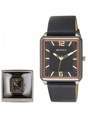 Wholesale Mens Henley Minimal Rectangular Leather Strap Fashion Watch - Black/Rose Gold