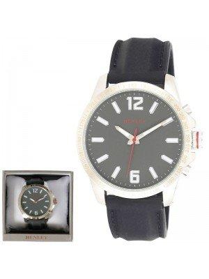 Wholesale Mens Henley Lazer Cut Bezel Silicone Strap Watch - Grey