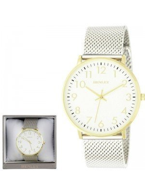 Wholesale Mens Henley Contemporary Numbered Mesh Watch- Gold Tone