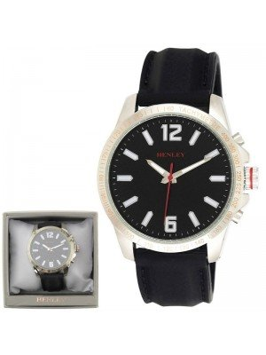 Wholesale Mens Henley Lazer Cut Bezel Silicone Strap Watch - Black