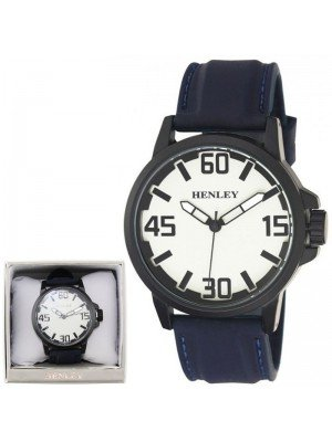 Wholesale Mens Henley 3D Dial Silicon Sports Watch - Blue