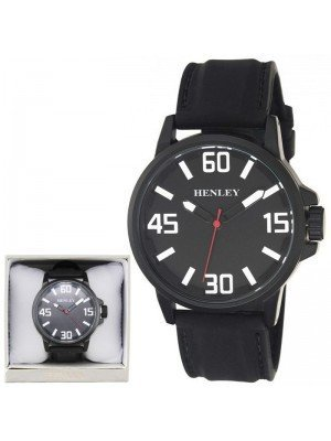 Wholesale Mens Henley 3D Dial Silicon Sports Watch - Black