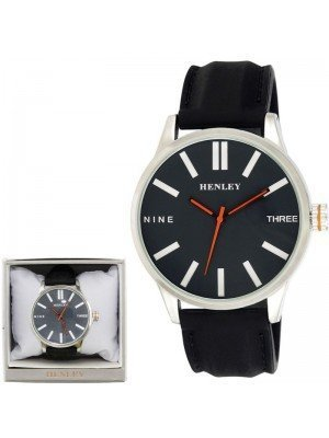 Wholesale Mens Henley Bold Summer Silicone Strap Watch - Black