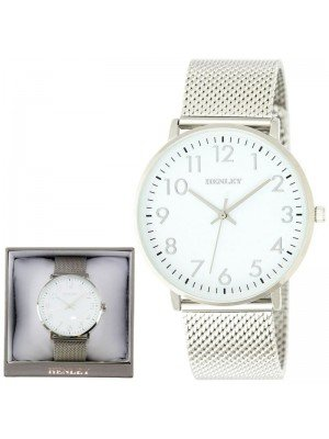 Wholesale Mens Henley Contemporary Numbered Mesh Watch- Silver Tone