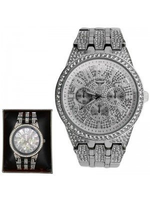 Wholesale NY London Mens 3 Dial Design Bling Fashion Watch - Silver