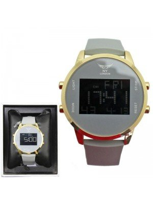 Wholesale NY London Mens Watch With Silicone Strap - Grey