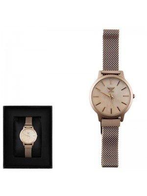 Ladies NY London  Mesh Strap Watch - Rose Gold