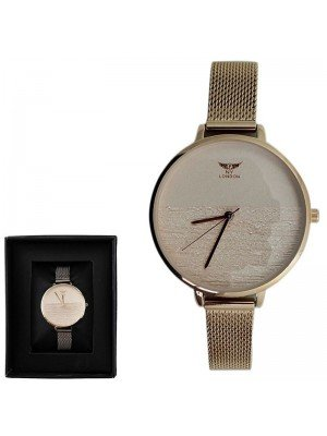 Wholesale NY London Ladies Round Metal Mesh Bracelet Strap Watch - Rose Gold