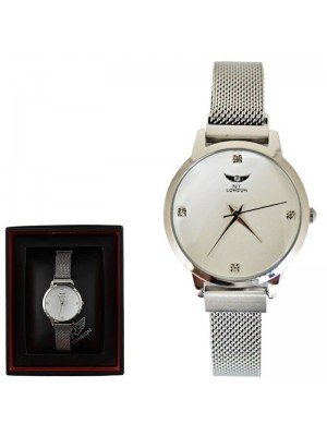 Wholesale NY London Ladies Watch with Metal Strap - Silver/White