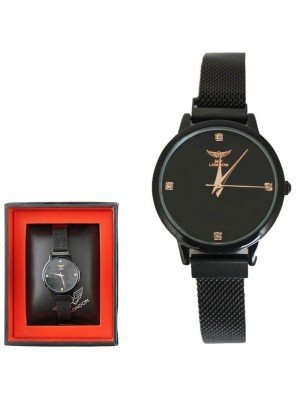 Wholesale NY London Ladies Watch with Metal Strap - Black