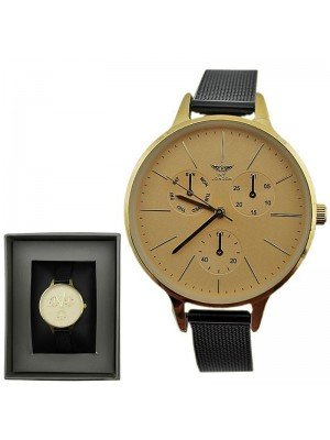 Wholesale NY London 3 Dial Design Watch with Metal Strap - Gold/Black