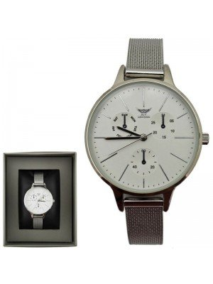 NY London 3 Dial Design Watch with Metal Strap - Silver/White