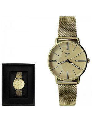 Wholesale NY London Ladies with Date Display Metal Mesh Bracelet Strap - Gold
