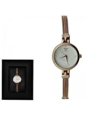 WHOLESALE NY London Ladies Round Dial Bracelet Metal Strap Watch - Rose Gold