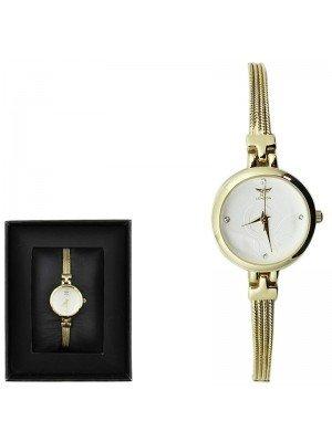 Wholesale NY London Ladies Round Dial Bracelet Metal Strap Watch - Gold