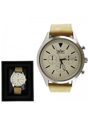 Men's Softech Round Leather Strap Watch - Tan