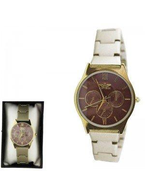 Ladies Softech Round Metal Bracelet Watch - Beige