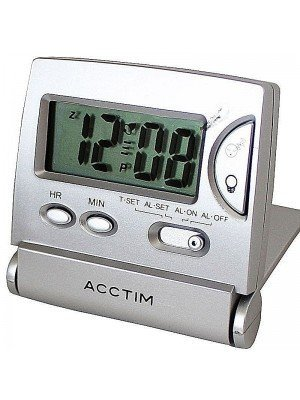 Acctim Mini LCD Flip Alarm Clock - Silver