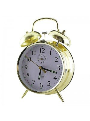 Acctim Keywound Saxon Bell Alarm Clock - Gold