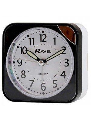 Ravel Quartz Alarm Clock - Black And Silver