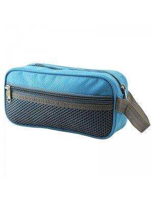 Blue Pencil Case With 3 Zipper Compartments