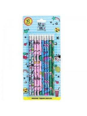 10 Pcs Eraser Tipped Pencils - Assorted Designs