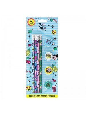 4 Pcs Pencils With Eraser Toppers - Assorted Designs