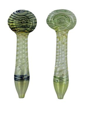 Wholesale Glass Canework Striped Design Spoon Hand Pipe - Assorted