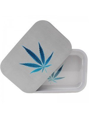 Blue Leaf With Plain Background Metal R-Tray With Magnetic Lid - (28.8 x 18.8 cm)