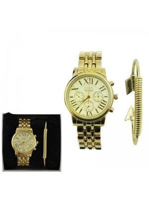 Wholesale Ladies Eton Round Dial Design Bracelet Watch - Gold
