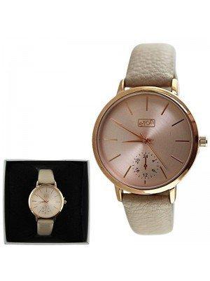 Ladies Eton Round Leather Strap Watch - Beige