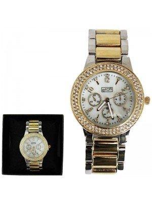 Ladies Eton Round Metal Strap Watch -Gold/Silver