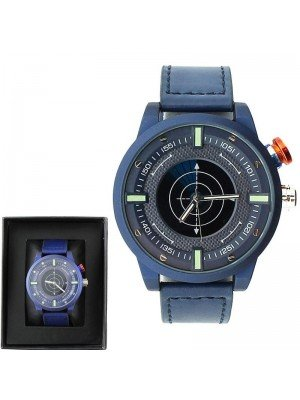 Wholesale Mens NY London Leather Strap Fashion Watch - Blue