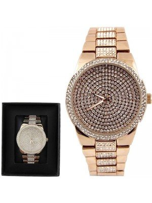 Wholesale NY London Mens Classic Bling Crystals Dial Fashion Watch - Rose Gold