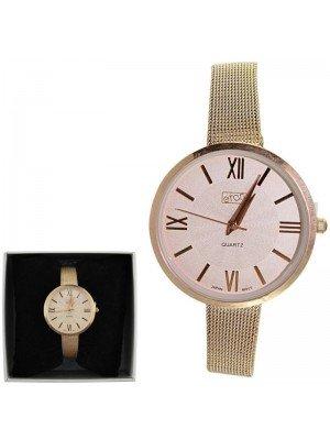 Ladies Eton Round Mesh Bracelet Watch - Rose Gold