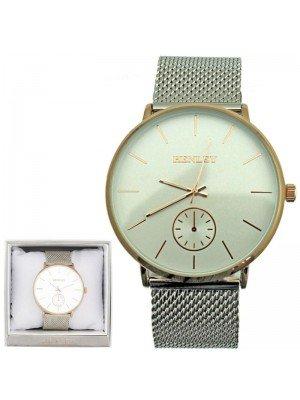 Wholesale Mens Henley Fashion Mesh Bracelet Watch - Silver/Gold