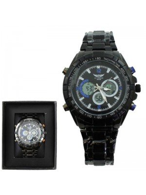 Wholesale NY London Men 3 Dial Design Metal Bracelet Watch - Black and Blue