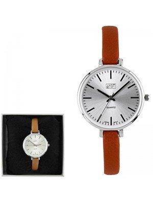 Wholesale Eton Ladies Faux Slim Strap Watch - Tan/Silver