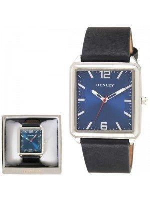 Wholesale Mens Henley Minimal Rectangular Leather Strap Fashion Watch - Black/Blue